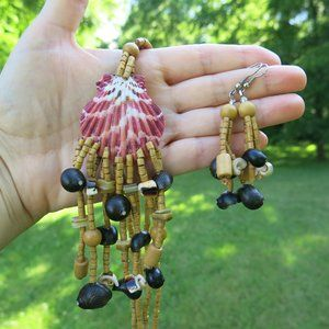 NEW Shell Wood Tropical Necklace and Earrings SET